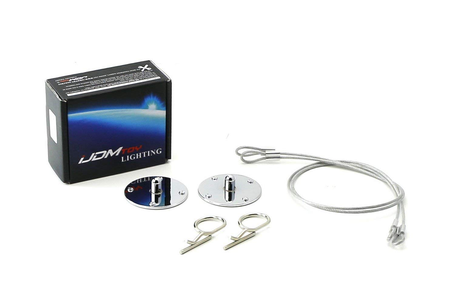 iJDMTOY Set of Classic 2.5' Chrome Finish Billet Aluminum Hood Pin Appearance Kit w/Cable For Any Car, Truck, SUV, etc iJDMTOY Auto Accessories