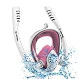 EZ LIFE PRO 2019 Snorkel Mask Full Face Snorkel Gear Set for Men,Women,Kids and Adults. Dry Panoramic 180 Degree View,Anti-Fog,Anti-Leak for Diving and Safe Breathing. (White+Pink, S/M)