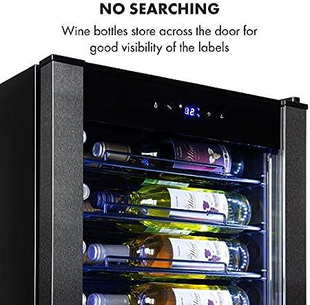 Klarstein Vinomatica nevera para vinos - capacidad para 36 botellas, 95 litros, temperaturas: 4-18 °C, clase G, panel táctil, 6 estantes de presentación, iluminación interior LED, aislado, negro[Clase de eficiencia energética G]