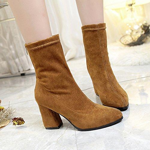 Botas Martin ásperas Botas Zapatos Botas para y marrón de EUR37 individuales Botas mujer mujeres para alto morrales tacón cortas Pwxq7SdF
