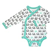 Babysoy Organic Printed Kimono Bodysuit (6-12 Months, Elephant/Seafoam)