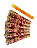 RAW 1 1/4 Classic Rolling Paper Pre-Rolled Cones (6 packs of 6 cones, 36 total) Includes Roll With Us Doobtube