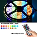 UMICKOO LED Strip Lights Kit,Led Light Strip Waterproof IP65,10m(2x5m,32.8ft) SMD 5050 600 LEDs,with IR Remote Controller for Home,Kitchen,Party,Christams,DC 12V 5A