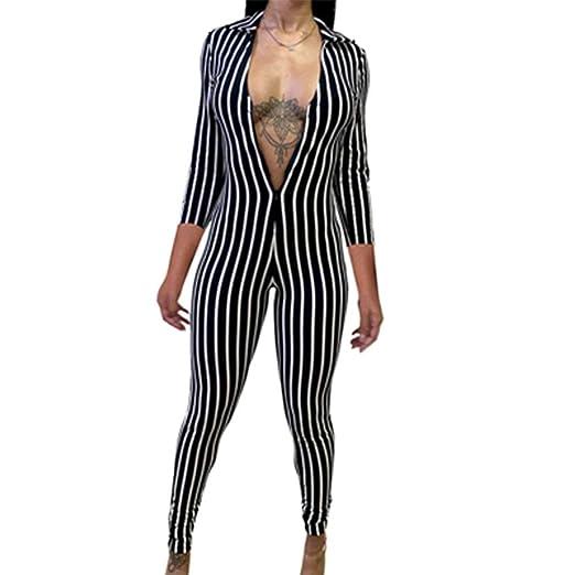 Amazon.com: Mono sexy de moda para mujer con cuello de manga ...