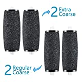 Roller Head Refills, Beyond Foot File Refills Callous Remover Roller Replacements, Compatible with Amope Pedicure Electronic Foot File (2 Extra Coarse & 2 Regular Replaceable Roller Heads)