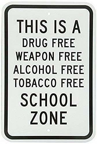 Uptell Metal Sign, Legend School Zone-Drug, Weapon, Alcohol, Tobacco Free, 12 X 8 inch Wide, Black on White