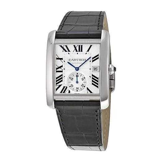 CARTIER RELOJ DE HOMBRE CORREA DE CUERO COLOR NEGRO CAJA DE ACERO W5330003: Amazon.es: Relojes
