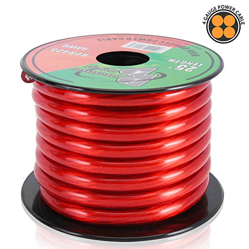 4-Gauge Clear Red Power Wire - 25 Feet 4 AWG Oxygen-Free Copper Power Cable Wire w/ Translucent Matte Insulator, Chemical and Heat-Resistant - Pyramid RPR425