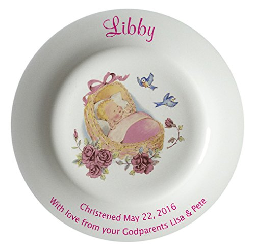 Personalized Birth Plate with a Plain Rim - Pink Cradle Design