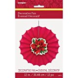 """12"""" Holly Poinsettia Holiday Paper Fan Decoration"""