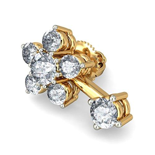 Or jaune 18K 0,71CT TW White-diamond (IJ | SI) Boucles d'oreille à tige