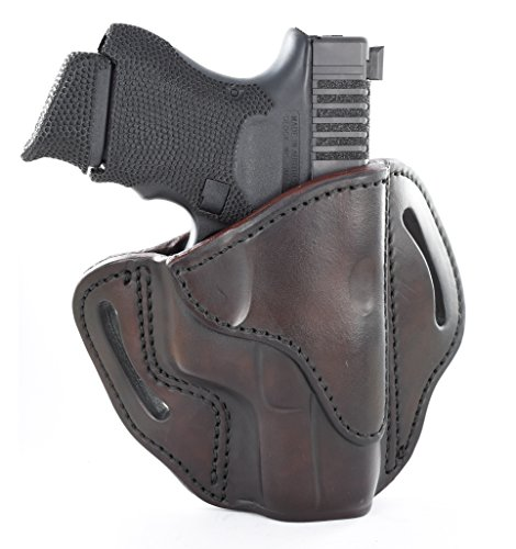 1791 GUNLEATHER Glock 19 Holster - Right Hand OWB G19 Leather Holster for Belts - Fits Glock 19, 23, 26, 27, H&K VP40 and Springfield XDS - Signature Brown