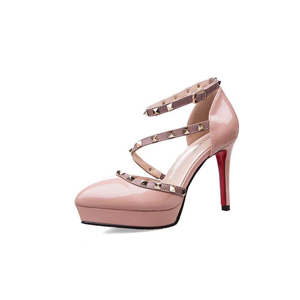 Yajiemei Frauen High Heel Niet Wasserdichte Plattform Plattform Plattform einzelne Schuhe Riemen Damenschuhe (Farbe   Bare Rosa, Größe   39) cb2385