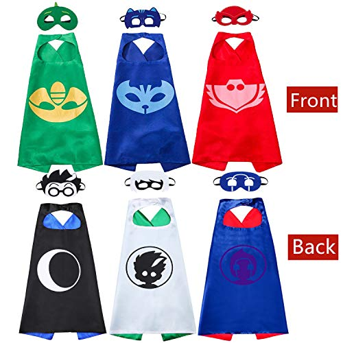 (NuGeriAZ Costumes Capes and Masks for Kids - Catboy Owlette Gekko Halloween Costumes Best Kids Gifts (Six)