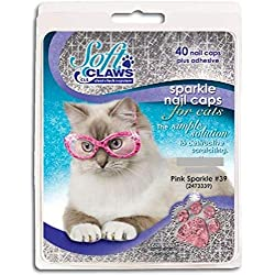 Soft Claws for Cats, Size Large, Color Pink Glitter
