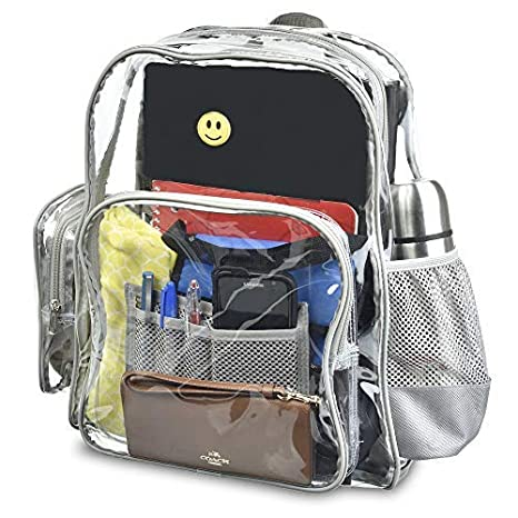 8dd620901ad2 Amazon.com  Planet Made Family Premium Extra Large + Heavy Duty Clear  Backpack   Transparent Bookbag- Perfect for School and Work.