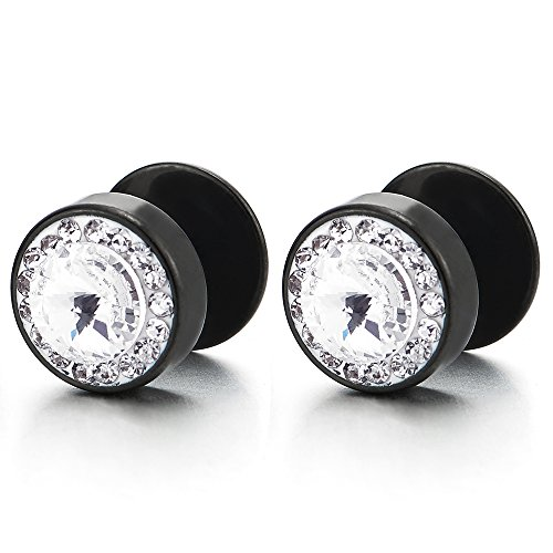 8-10mm Mens Women Black Circle Stud Earrings with Cubic Zirconia Steel Cheater Fake Plugs Gauges Tunnel