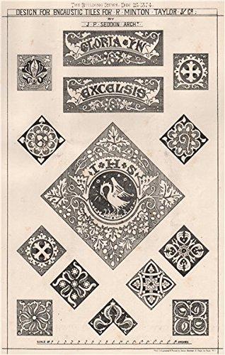Design for encaustic tiles for R. Minton Taylor & Co. ; JP Seddon, Archt - 1874 - old print - antique print - vintage print - Decorative art prints