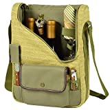Picnic at Ascot – Wine Carrier Deluxe with Glass Wine Glasses and Accessories for Two, Olive Tweed Review