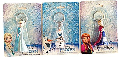 "Disney 3D PVC Key Rings Keychains set of 3 Elsa, Ana and Olaf (2.5"" Tall)"