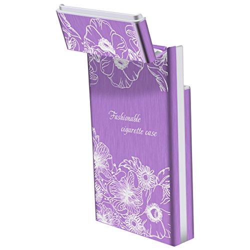sottile regalo 20 di in alluminio femmina Portasigarette sigari Sigaretta Padgene rosso Natale Portapenne stoccaggio Viola rosa qwxztR8