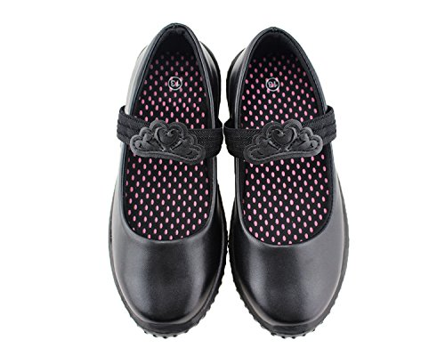 (Jabasic Girl's Mary Jane School Uniform Shoes (13 M US Little Kid, Black-2))