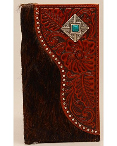 Nocona Men's Rodeo Hair-On-Hide Floral Turquoise And Silver Concho Wallet Brown One Size (Hide Concho)