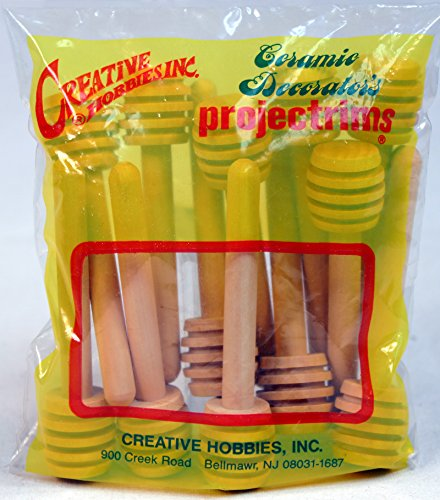 Creative Hobbies 24 Pack of Mini 3 Inch Wood Honey Dipper Sticks, Individually Wrapped, Server for Honey Jar Dispense…