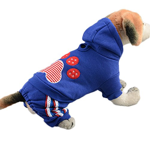 Pet Dog Hoodies, Fashion American Stars Claws 4 Legs Pet Clothes Puppy Coat Winter Warm Sweater (XS, Blue)
