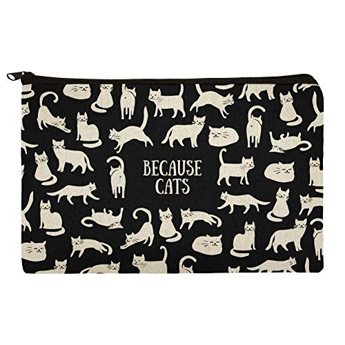 Because Cats Funny Kitties Lounging Around Makeup Cosmetic Bag Organizer Pouch