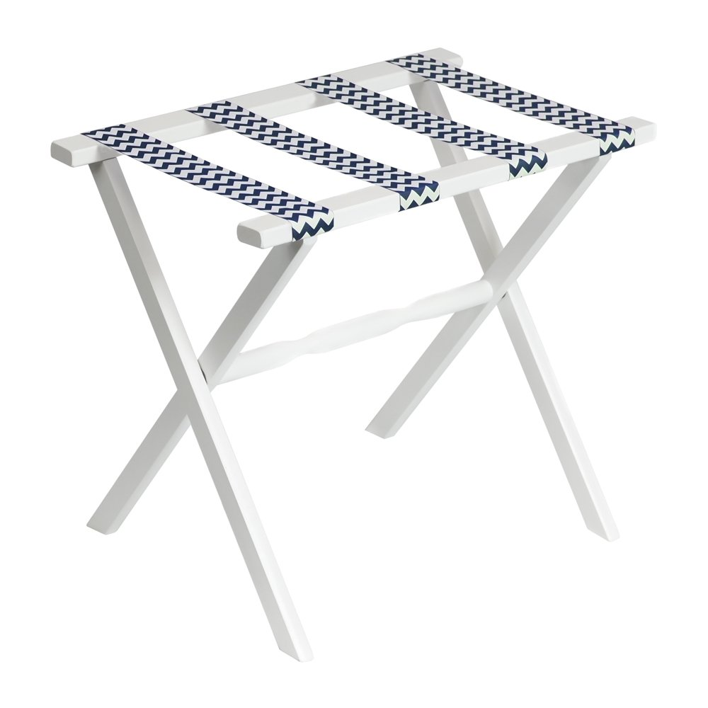 Gate House Furniture Straight Leg Chevron Series Wood Luggage Rack, White/Navy