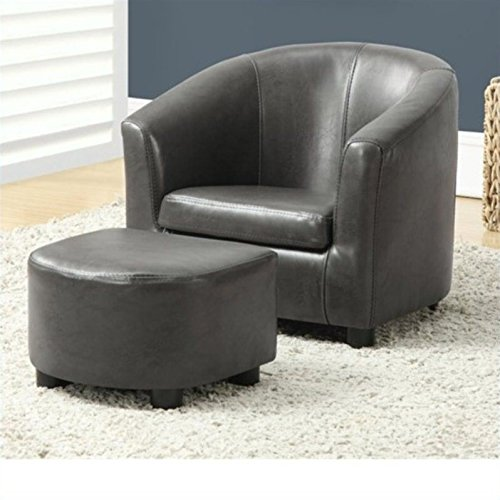 Monarch Specialties 2-Piece Charcoal Grey Leather-Look Juvenile Chair/Ottoman Set, 18-Inch