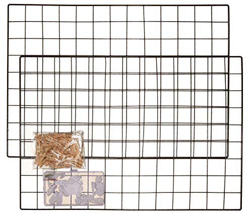 "SOHOtopia Photo Wall Grid Decor | Grid Wall Organizer | Photo Hanging Display | 2 Multi-Purpose Black Wire Grid Panels, 25 1/2"" x 17 1/2"" Each 