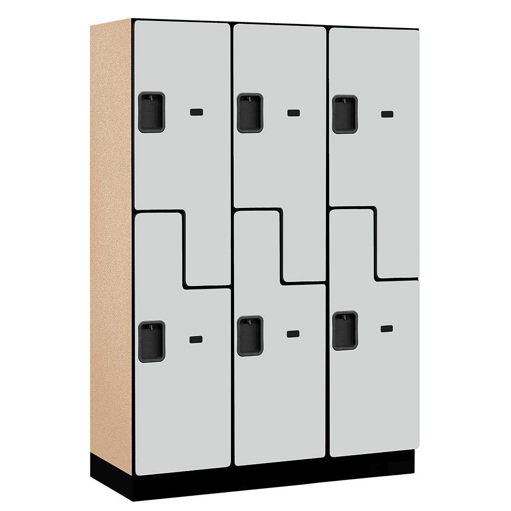 18'' Wide Double Tier 'S' Style Designer Wood Locker - 3 Wide - 6 Feet High - 18 Inches Deep - Gray by Salsbury Industries