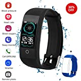 QWMoonRu Fitness Tracker with Heart Rate Monitor Blood Pressure Blood Oxygen Monitor, Waterproof Activity Tracker Watch with Pedometer, Sleep Monitor, Smart Watch for Men, Women and Kids (Black)