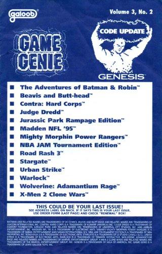 Game Genie Codebook Update for Sega Genesis - Volume 3 Number 2 (Supplement code update booklet with additonal codes not in original manual) (Game Genie Code Update) [Paperback] [1994] Galoob
