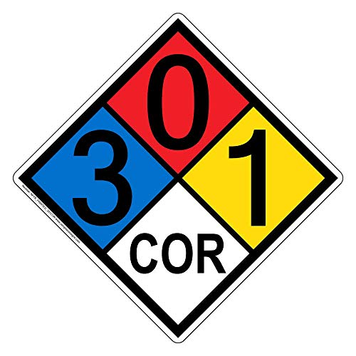 NFPA 704 3-0-1-Cor Sign, 15x15 in. Aluminum for Hazmat by - Sign Cor