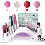 gel kit starter - Gel Nail Polish Starter Kit with UV LED 24W Nail lamp Dryer Deluxe Manicure Tools Gel Polish Base and Top Coat by AZUREBEAUTY