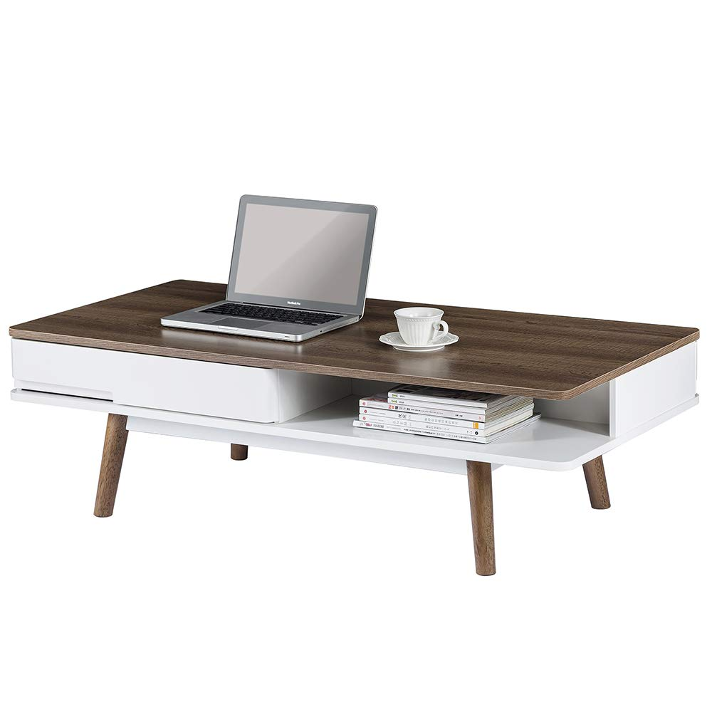 ChooChoo Mid Century Modern Coffee Table with 2 Drawers and Storage Shelf, Wood Cocktail Table for Living Room, White/Espresso by ChooChoo