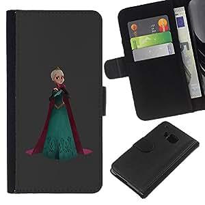 Be-Star la tarjeta de Crédito Slots PU Funda de cuero Monedero caso cubierta de piel Para HTC One M9 ( Princess Queen Crown Art Blonde Robe )