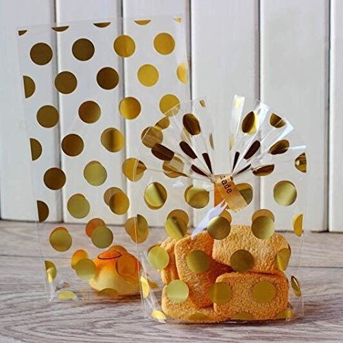200 Pack Gold Polka Dot Candy Bags with Golden twist ties, 8.1 x 5 x 1.8 inch Clear Plastic Treat Bags for Cookie Candy Snack Wrapping Wedding Gift Party -
