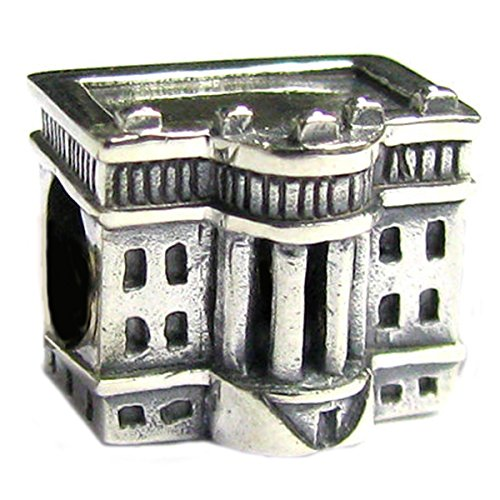 Queenberry Sterling Silver America White House European Style Bead Charm