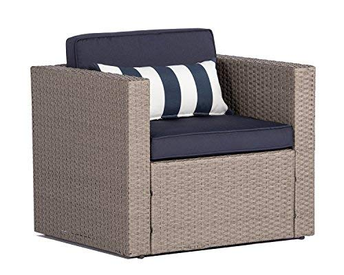 Solaura Outdoor Sofa Furniture All Weather Grey Wicker Lounge Chair | Additional Single Chair for Sectional Sofa Sets | Nautical Navy Blue Waterproof Cushions | Patio, Backyard, Pool