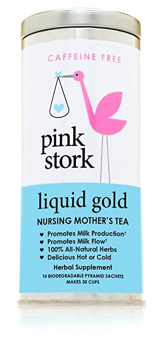 Pink Stork Liquid Gold: Breastfeeding and Lactation Support Tea -Organic Loose Leaf Tea in Biodegradable Sachets -Natural Lactation Support -Nursing Mother's Tea -Enhance Breastmilk Nutrition, Supply