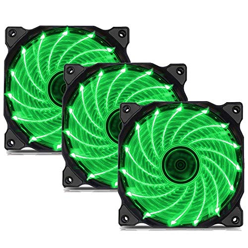 uphere 3-Pack Long Life Computer Case Fan 120mm Cooling Case Fan for Computer Cases Cooling 15LED Green,15G3-3