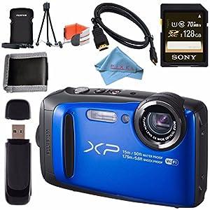 Fujifilm FinePix XP90 Digital Camera (Blue) 16500076 + Sony 128GB SDXC Card + Fujifilm XP Series Digital Camera Standard Accessory Kit + Memory Card Wallet + Fibercloth + Micro HDMI Cable Bundle