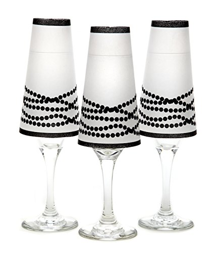 di Potter CS100 Her Pearls Paper Champagne Glass Shade, Black (Pack of 6)