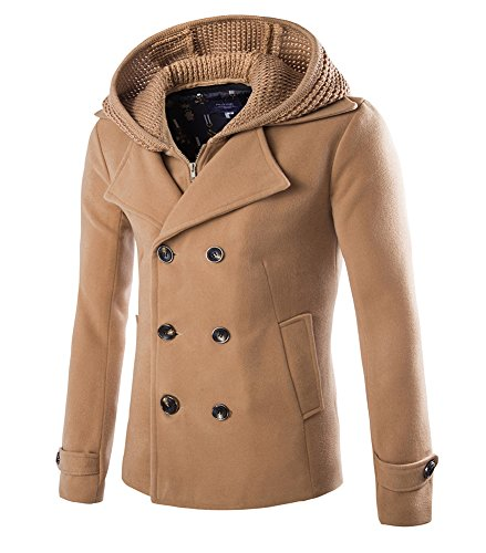 Mens Stylish Fashion Classic Wool Double Breasted Pea Coat with Removable Hood (D116 Camel,L)