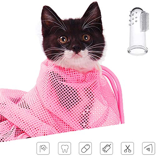 ChiChe Mesh Cat Grooming Bath Bag Cats Adjustable Washing Bags for Pet Bathing Nail Trimming Injecting Anti Scratch Bite Restraint (Pink) ()