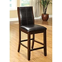 "Furniture of America Egnew 25"" Counter Stool in Dark Oak (Set of 2)"